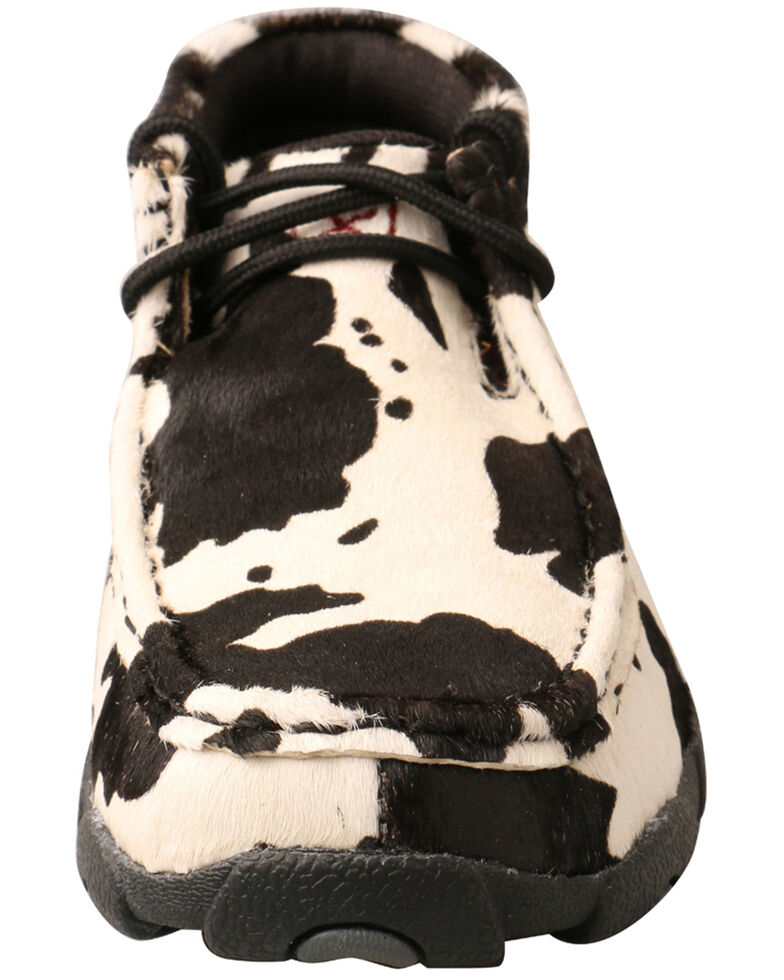 Twisted X Youth Boys' Hair On Hide Chukka Shoes - Moc Toe, Black/white, hi-res