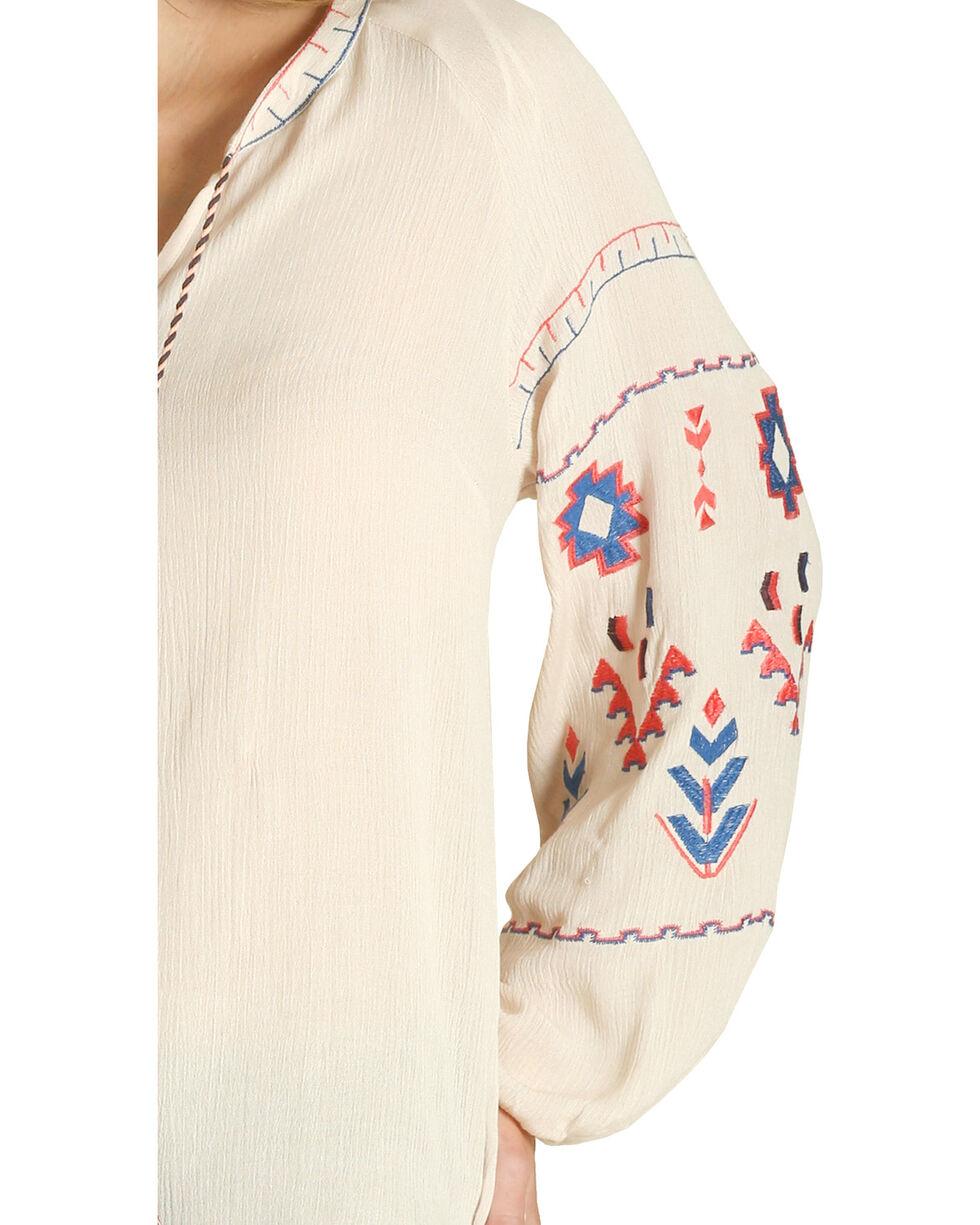Wrangler Women's Cream Embroidered Peasant Top , Cream, hi-res