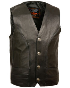 Milwaukee Leather Men's Buffalo Nickel Snap Classic Vest - Big , Black, hi-res