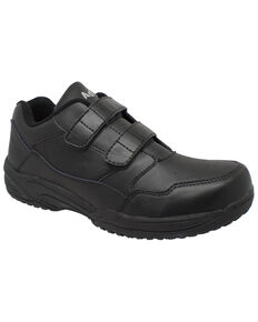 Ad Tec Men's Athletic Adjustable Strap Uniform Work Shoes - Round Toe, Black, hi-res