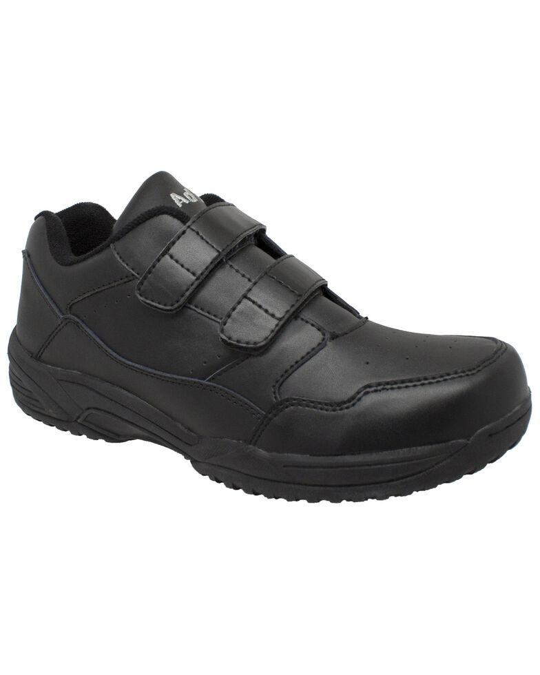 Ad Tec Men's Athletic Adjustable Strap Uniform Work Shoes - Round Toe, Black, hi-res