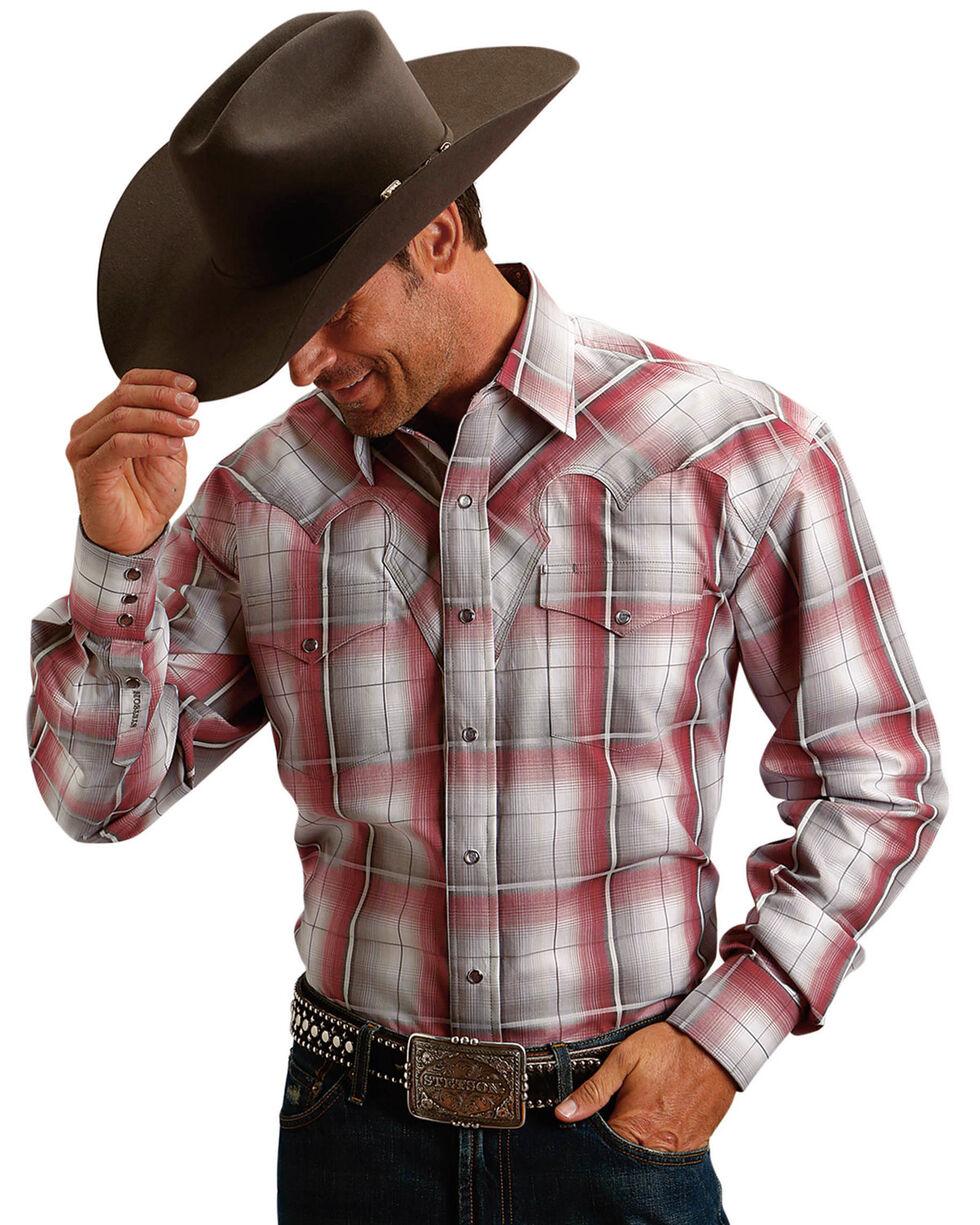 Stetson Men's Bloodstone Ombre Plaid Shirt , Red, hi-res