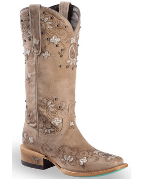 Lane Women's Beige Sweet Paisley Boots - Square Toe , Red, hi-res