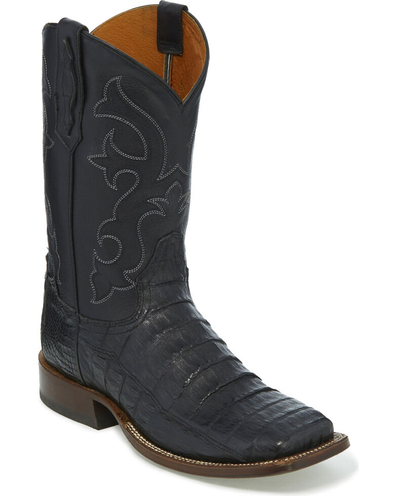 Tony Lama Men's Black Burnished Caiman Belly Cowboy Boots - Square Toe, Black, hi-res