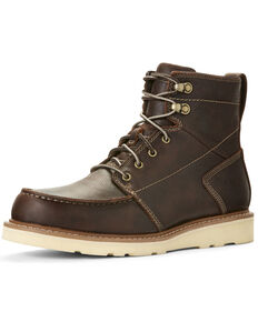 Ariat Men's Distressed Brown Recon Lace-Up Work Boots - Moc Toe, Brown, hi-res