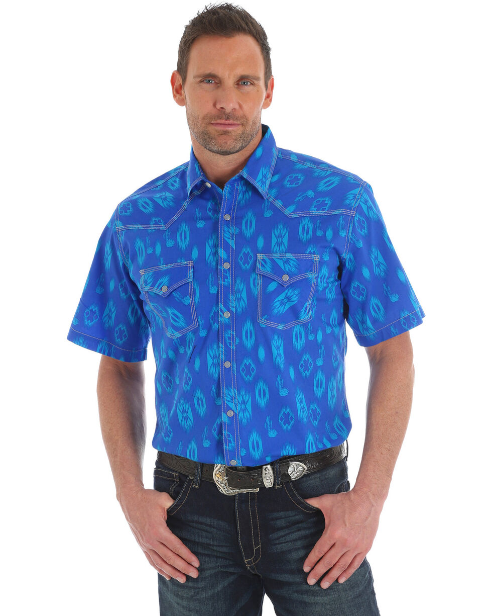 Wrangler 20X Men's Competition Blue Aztec Advanced Comfort Short Sleeve Shirt , Blue, hi-res