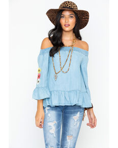 Miss Me Women's So Sprung Off The Shoulder Top , Indigo, hi-res