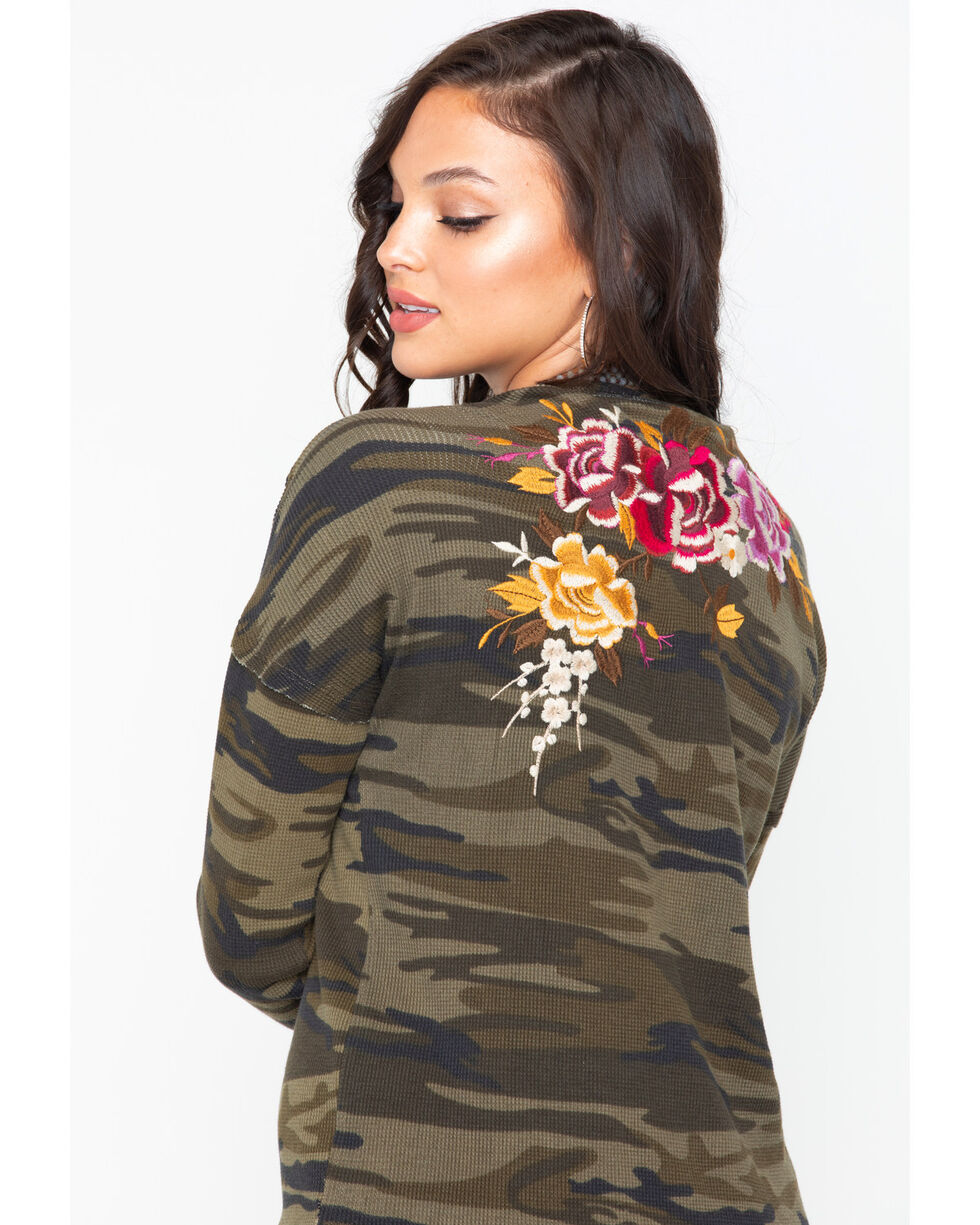 Johnny Was Women's Zosia V-neck Thermal Top , Camouflage, hi-res