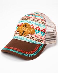 Shyanne Women's Embroidered Aztec Cactus Print Ball Cap, Tan, hi-res