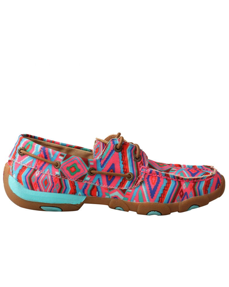 Twisted X Women's Aztec Tough Enough To Wear Pink Driving Shoes - Moc Toe, Pink, hi-res