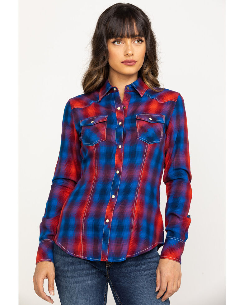 Rock & Roll Cowgirl Women's Red Steerhead Embroidered Long Sleeve Western Shirt, Red, hi-res
