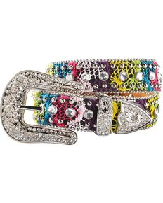 Nocona Girls' Bedecked & Crocheted Western Belt - 20-28, Multi, hi-res