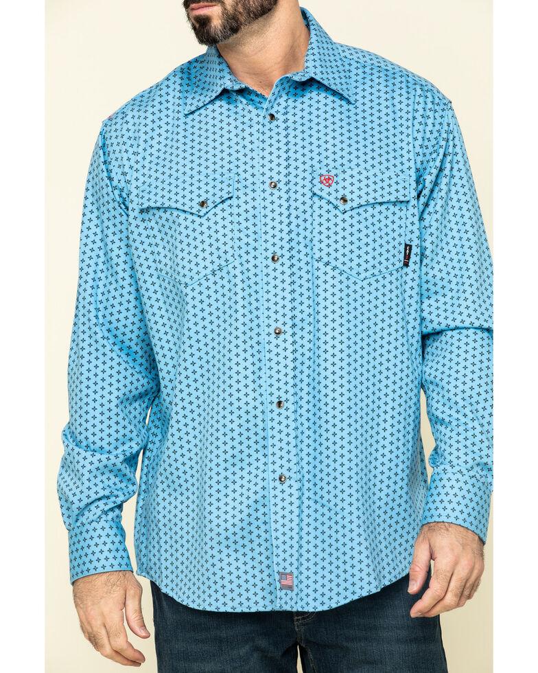 Ariat Men's FR Tungsten Geo Print Long Sleeve Work Shirt , Blue, hi-res