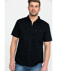 Levis Men's Black Nevin Denim Short Sleeve Western Shirt , Black, hi-res