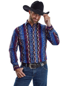 Wrangler Men's Multi Aztec Checotah Stripe Long Sleeve Western Shirt , Blue/red, hi-res