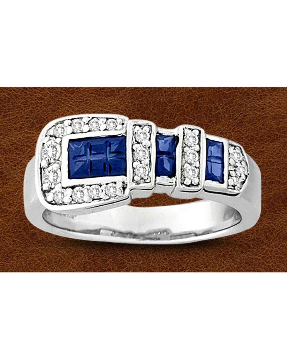 Kelly Herd Sterling Silver Blue Rhinestone Buckle Ring, Silver, hi-res