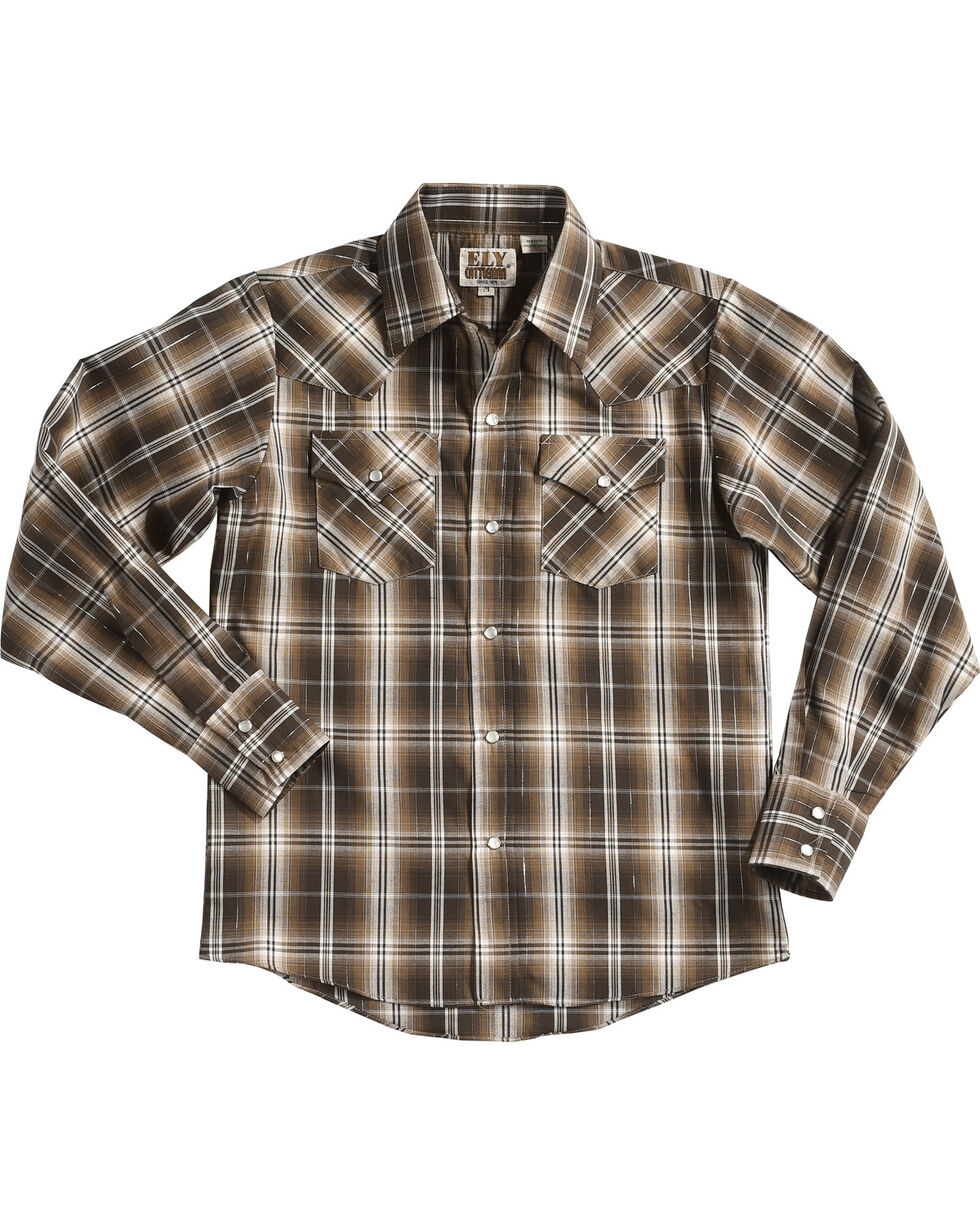 Ely Cattleman Boys' Lurex Plaid Long Sleeve Snap Shirt, Brown, hi-res