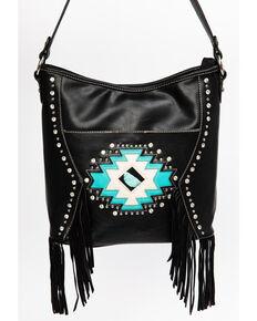 Montana West Women's Aztec Turquoise Stone Handbag, Black, hi-res