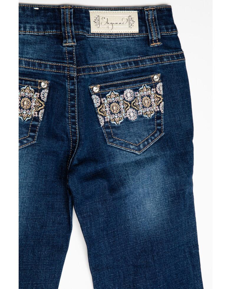 Shyanne Girls' Floral Aztec Pattern Bootcut Jeans, Blue, hi-res
