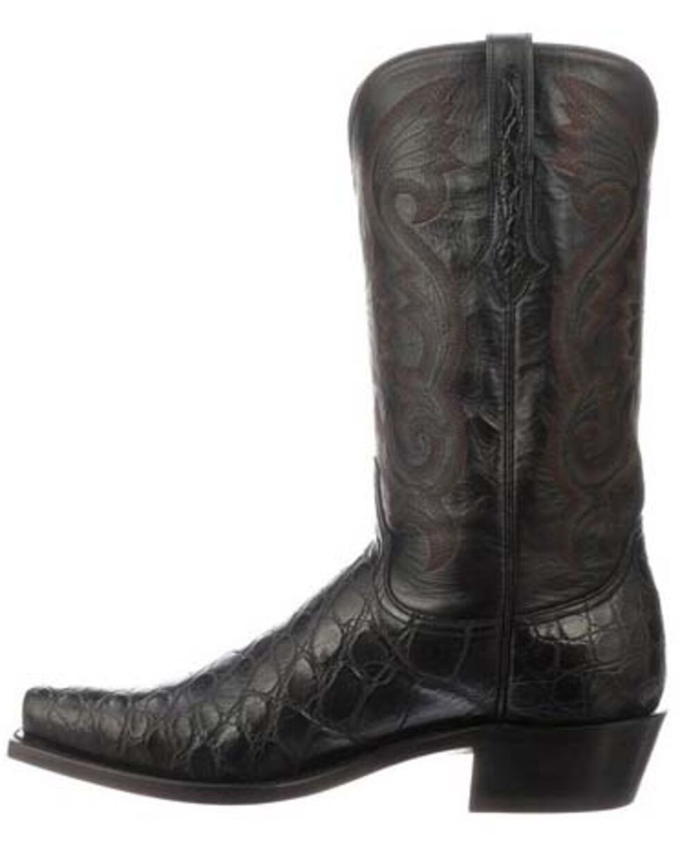 Lucchese Men's Rio Exotic Gator Western Boots - Square Toe, Black, hi-res