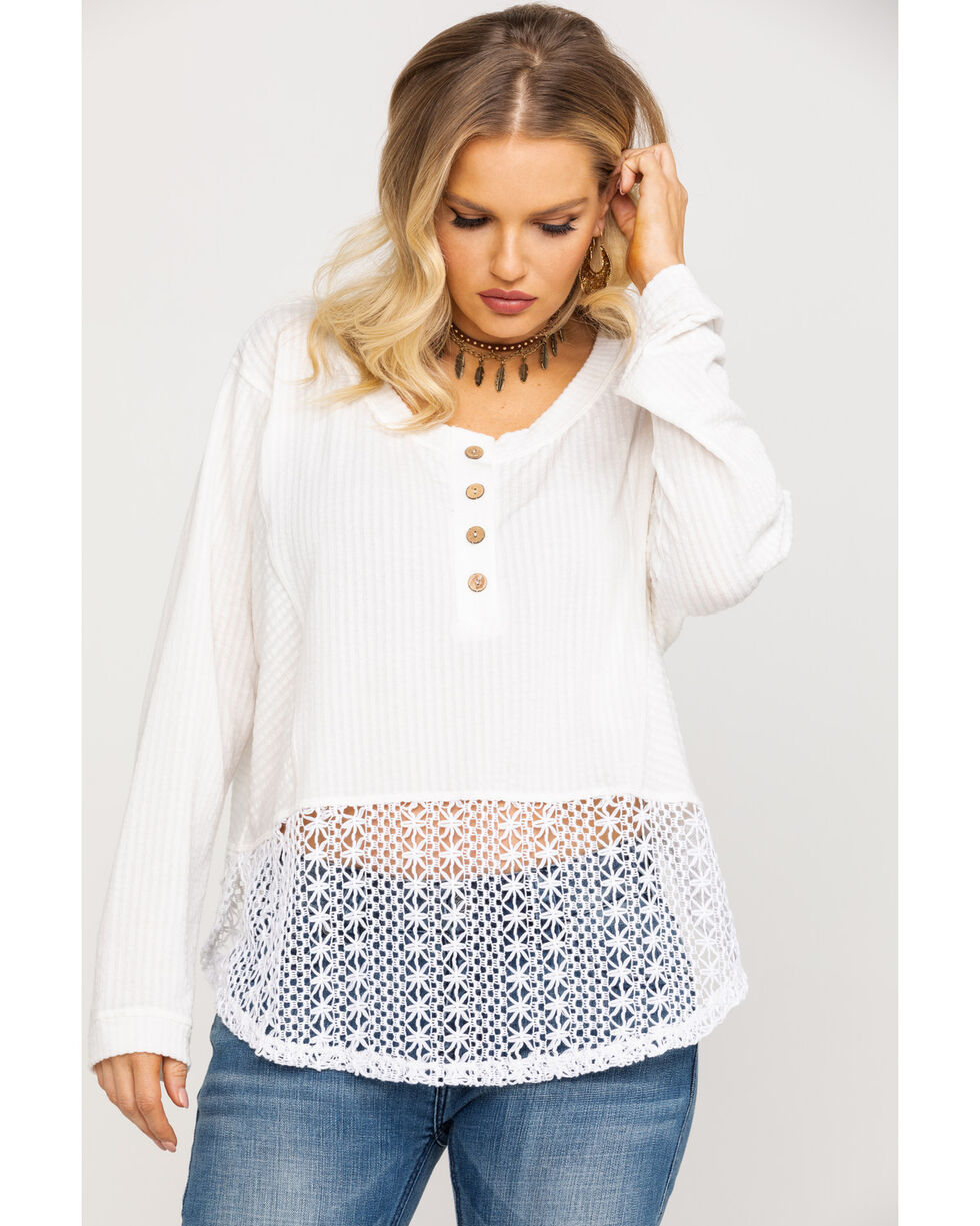 Miss Me Women's Pearly White Crochet Long Sleeve Top, White, hi-res