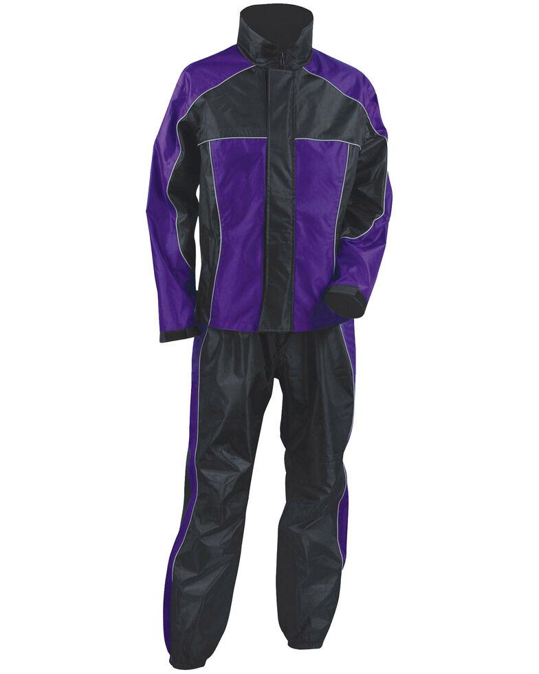 Milwaukee Leather Women's Purple/Black Waterproof Rain Suit - 5X, Black/purple, hi-res