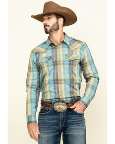 Cody James Men's Had My Druthers Plaid Long Sleeve Western Shirt , Blue, hi-res