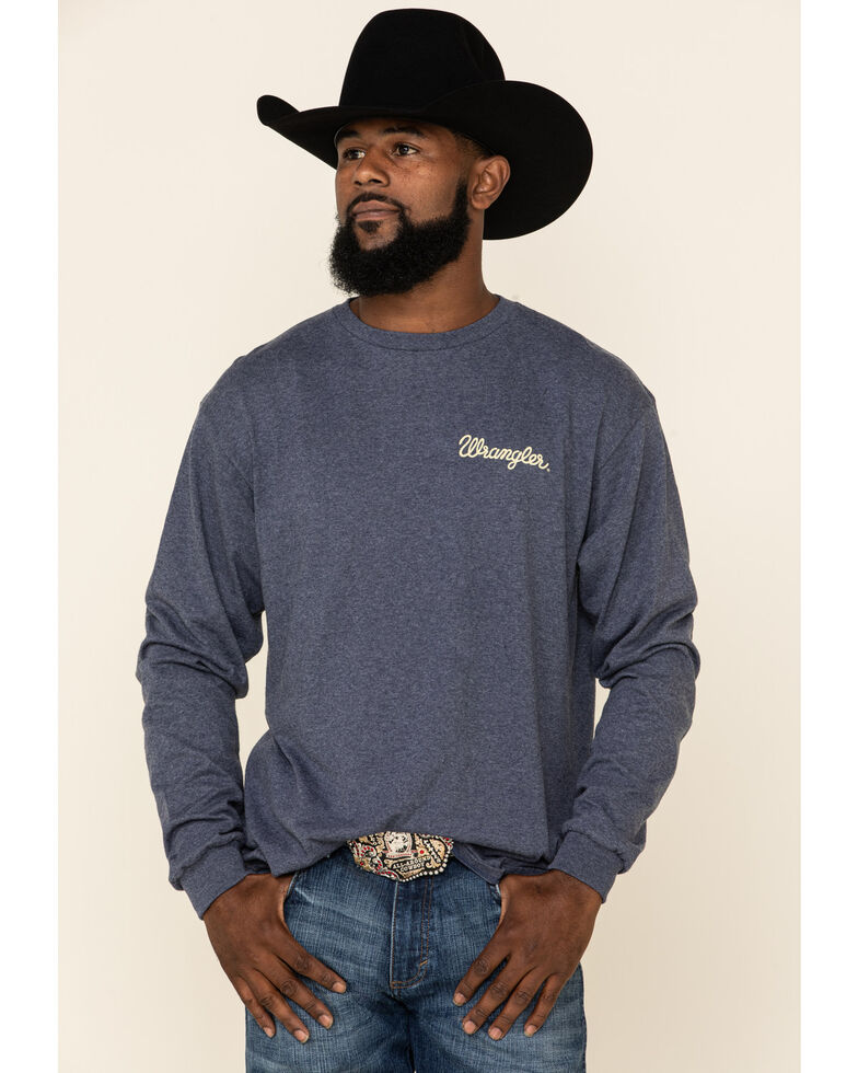 Wrangler Men's Heathered Denim Graphic Long Sleeve T-Shirt , Blue, hi-res