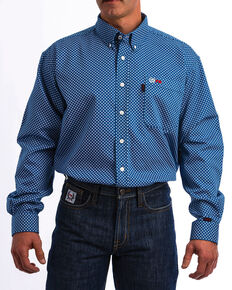 Cinch WRX Men's FR Royal Print Lightweight Button Down Work Shirt - Big, Royal Blue, hi-res