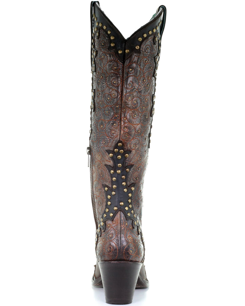 Corral Women's Testa Studded Embroidered Leather Western Boots - Snip Toe, Multi, hi-res