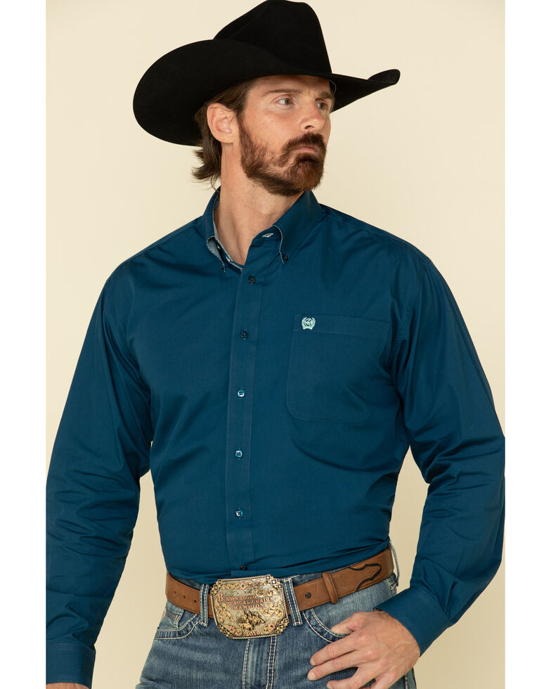 Cinch Men's Dark Blue Solid Long Sleeve Western Shirt , Blue, hi-res