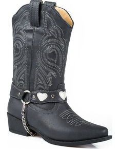Roper Kid's Dale Faux Leather Western Boots, Black, hi-res