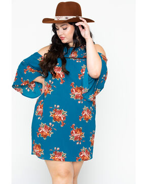 Flying Tomato Women's Floral Cold Shoulder Dress- Plus Size , Teal, hi-res