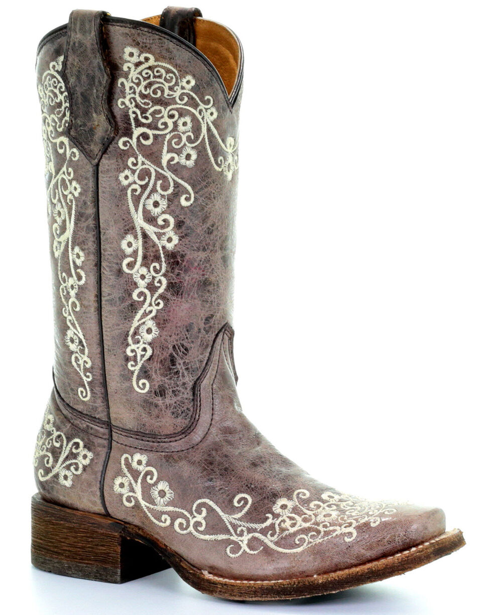 Corral Kids' Embroidered Square Toe Western Boots, Brown, hi-res