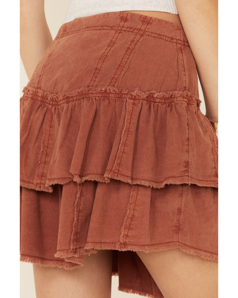 Free People Women's Ruffles In The Sand Skirt, Rust Copper, hi-res