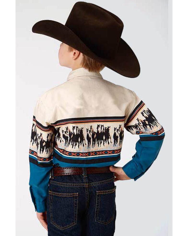 Roper Boys' Horse Border Print Long Sleeve Western Shirt , Blue, hi-res