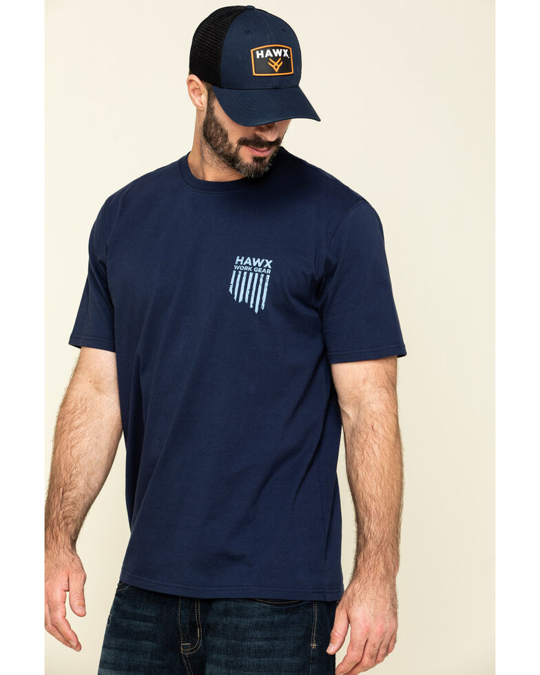 Hawx Men's Navy Vertical Flag Logo Graphic Work T-Shirt , Navy, hi-res