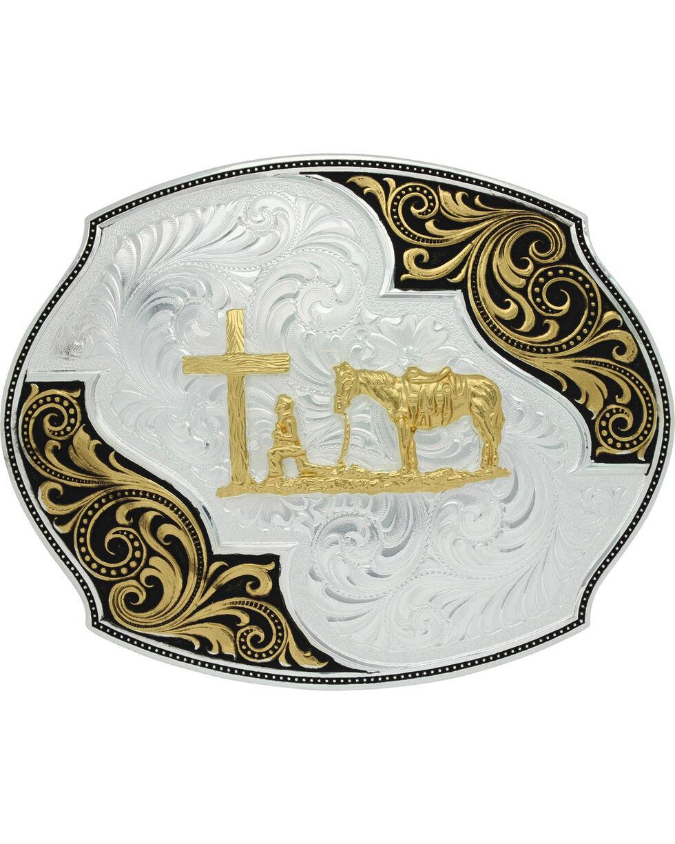 Montana Silversmiths Men's Lace Scroll Christian Cowboy Belt Buckle, Silver, hi-res