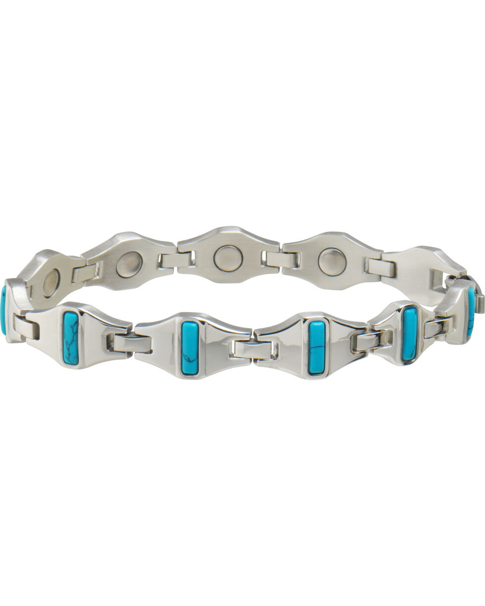 Sabona Women's Bright Stainless Turquoise Magnetic Bracelet , Steel, hi-res