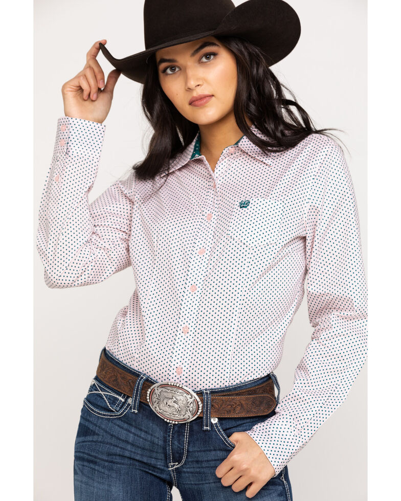 Cinch Women's Pink Dot Printed Button Front Long Sleeve Western Shirt, Pink, hi-res