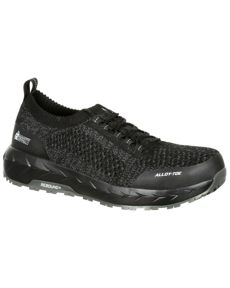 Rocky Men's WorkKnit LX Athletic Work Shoes - Alloy Toe, Black, hi-res