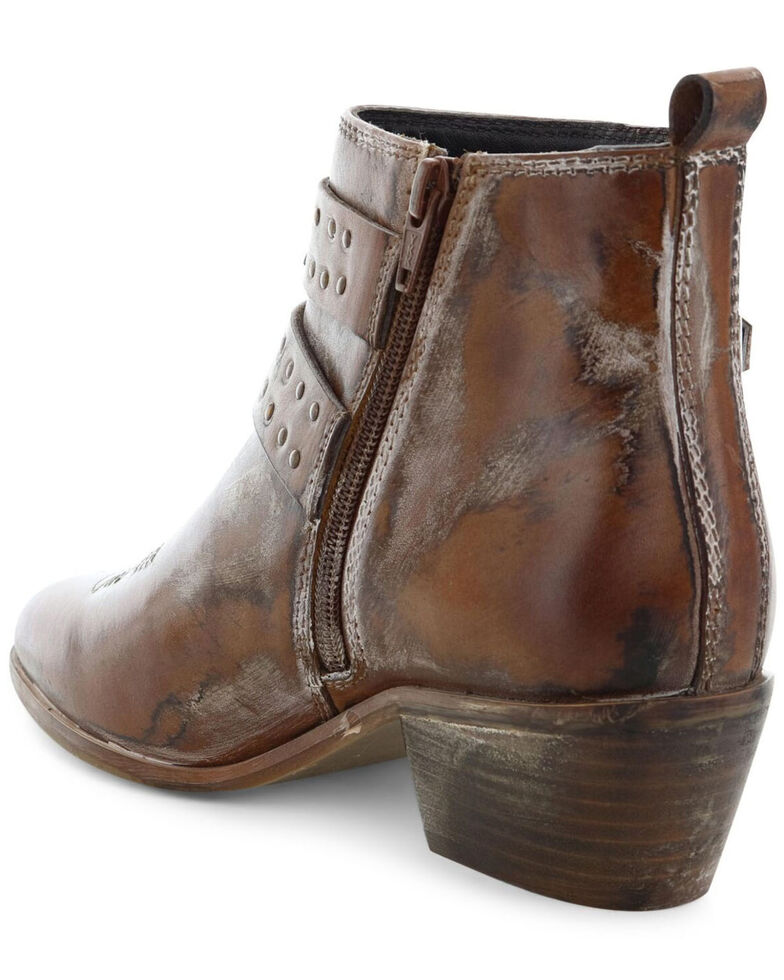 Roan by Bed Stu Women's Tan Ville Buckle Western Booties - Pointed Toe, Tan, hi-res