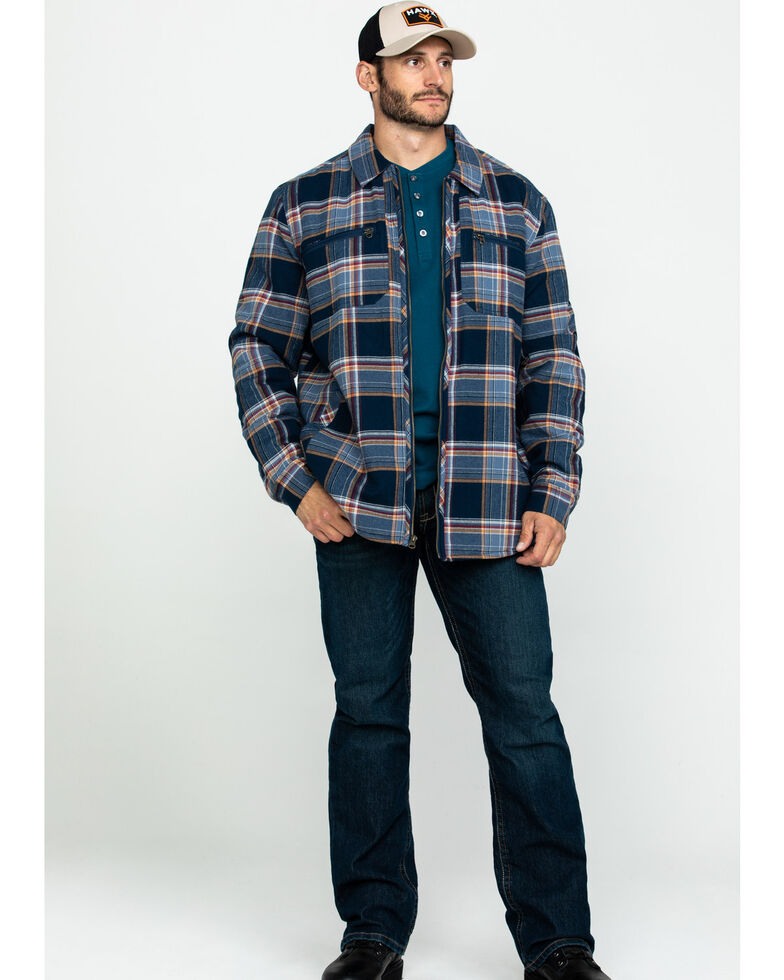 Hawx Men's Navy Sherpa Lined Plaid Zip Front Shirt Work Jacket ...