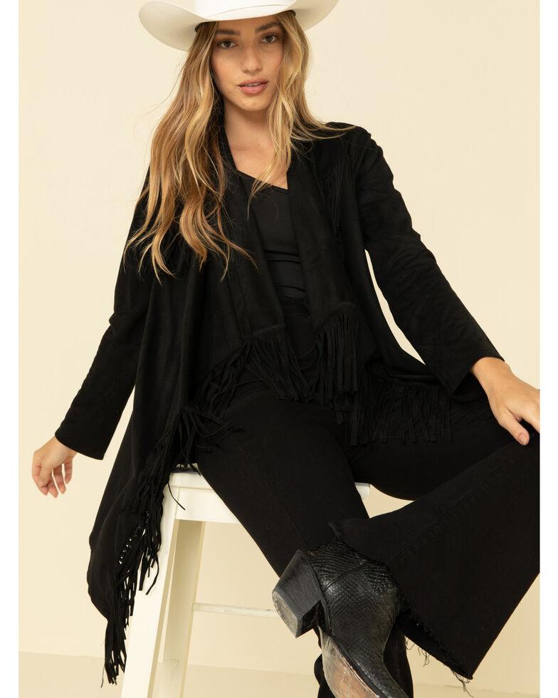 Wrangler Retro Women's Black Suede Fringe Kimono , Black, hi-res