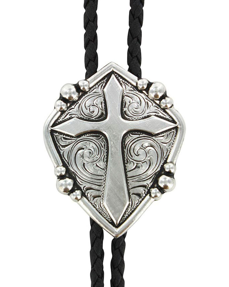 Cody James Men's Cross Bolo Tie, Silver, hi-res