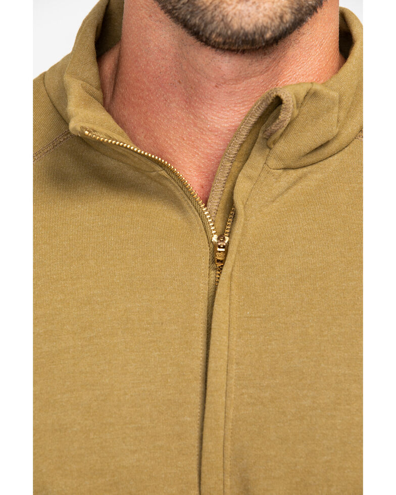 NSA Drifire Men's Brown Mock Zip Fleece Work Pullover, Brown, hi-res