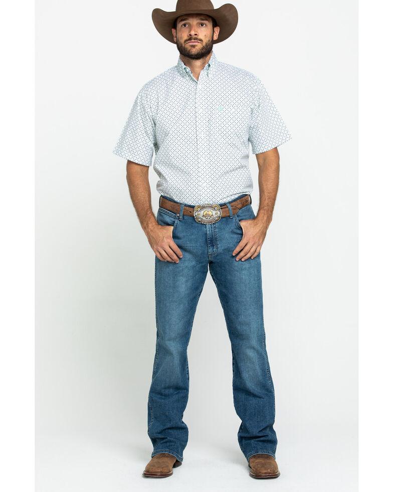 George Strait By Wrangler Men's Mint Small Geo Print Short Sleeve Western Shirt , Bright Green, hi-res