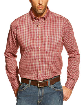 Ariat Men's Flame Resistant Checkered Work Shirt, Wine, hi-res