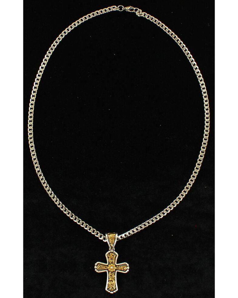 Twister Men's Floral Cross Antique Gold Necklace , Silver, hi-res