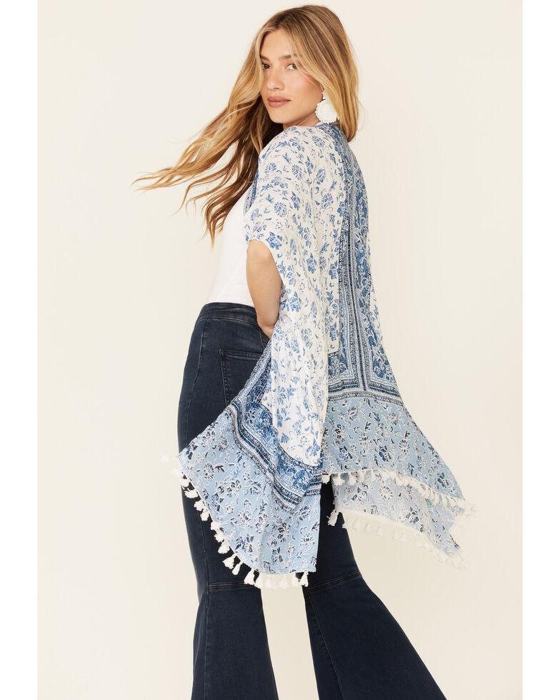 Angie Women's Floral Border Print Tassel Hem Kimono  , Blue, hi-res